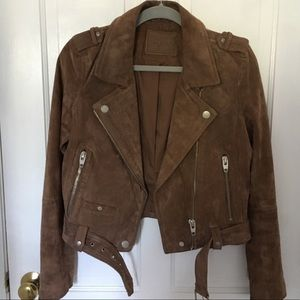 Blank NYC suede moto jacket in coffee bean